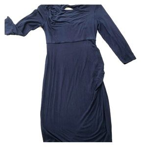 Dresses & Skirts - Blue long sleeve maternity dress